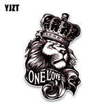 YJZT 10*15.3CM One Love Lion Crown PVC High Quality Animal Car Sticker C1-3084