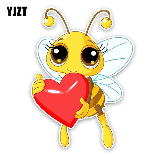 YJZT 11.4CM15.8CM Interesting Lovely Cartoon love Heart Bees Colored PVC Car Sticker Graphic Decoration C1-5239