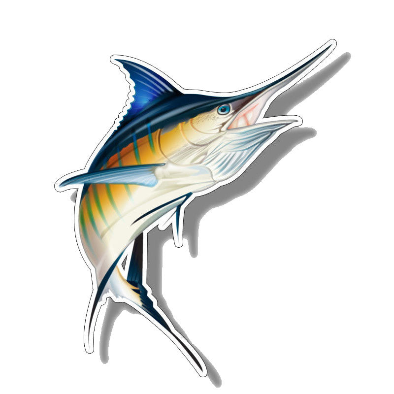 YJZT 14CM*16.6CM Funny Marlin Fish Saltwater Car Sticker Decal PVC 12-0646