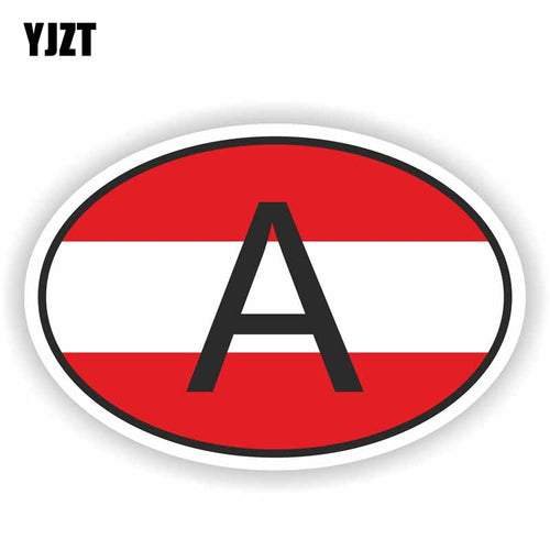YJZT 15CM*10CM Personality Car Sticker Funny A AUSTRIA Country Code Reflective Decal PVC 6-0199