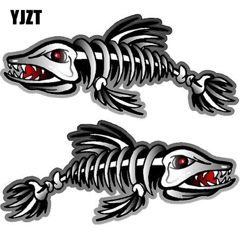 YJZT 17.1CM*7.4CM 2X ZOMBIE Reflective Fishing Art Series Car Sticker Motorcycle Parts C1-7097