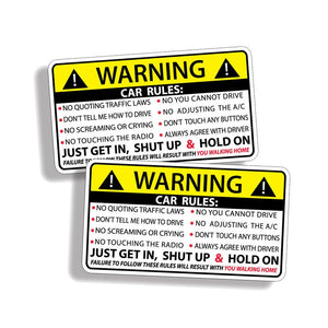 YJZT 2X 10.2CM*5.7CM Car Safety Warning Rules Decal PVC Car Sticker 12-0585