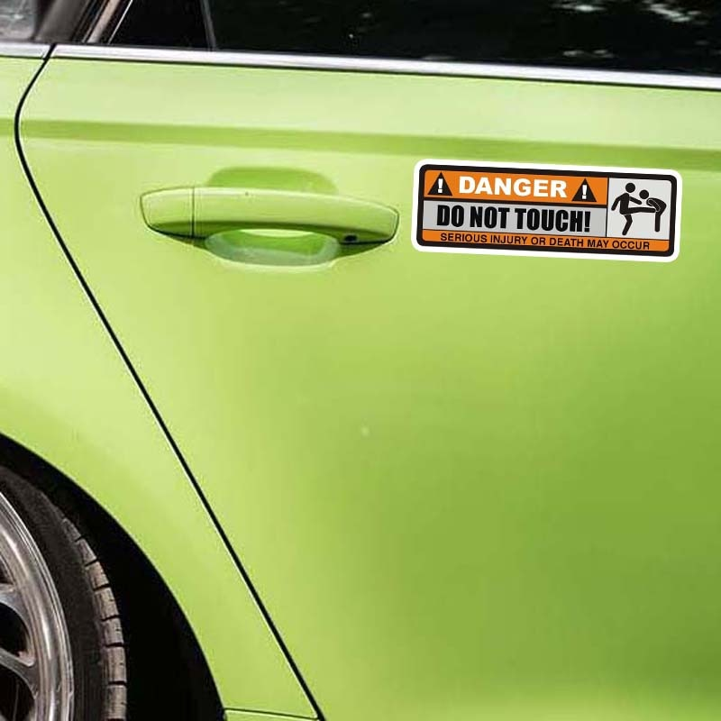 YJZT 2X 12.5CM*3.9CM DANGER DO NOT TOUCH Car Sticker Funny SERIOUS INJURY OR DEATH MAY OCCUR Decal PVC 12-0915