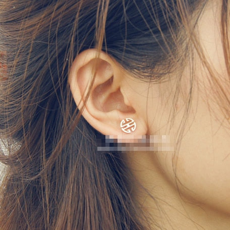 YUN RUO Fashion Brand Top Quality Rose Gold Color Stud Earring for Woman Girl 316L Stainless Steel Earring Jewelry Never Fade