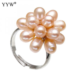 YYW Adjustable Full Rings Natural Pink Freshwater Pearl Finger Ring Handmade Flower Bridal Wedding Rings for woman