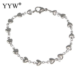 YYW Hot Selling Stainless Steel Heart Chain Love Bracelets Gift Fashion Women Jewelry Silver Bangles Wristbands