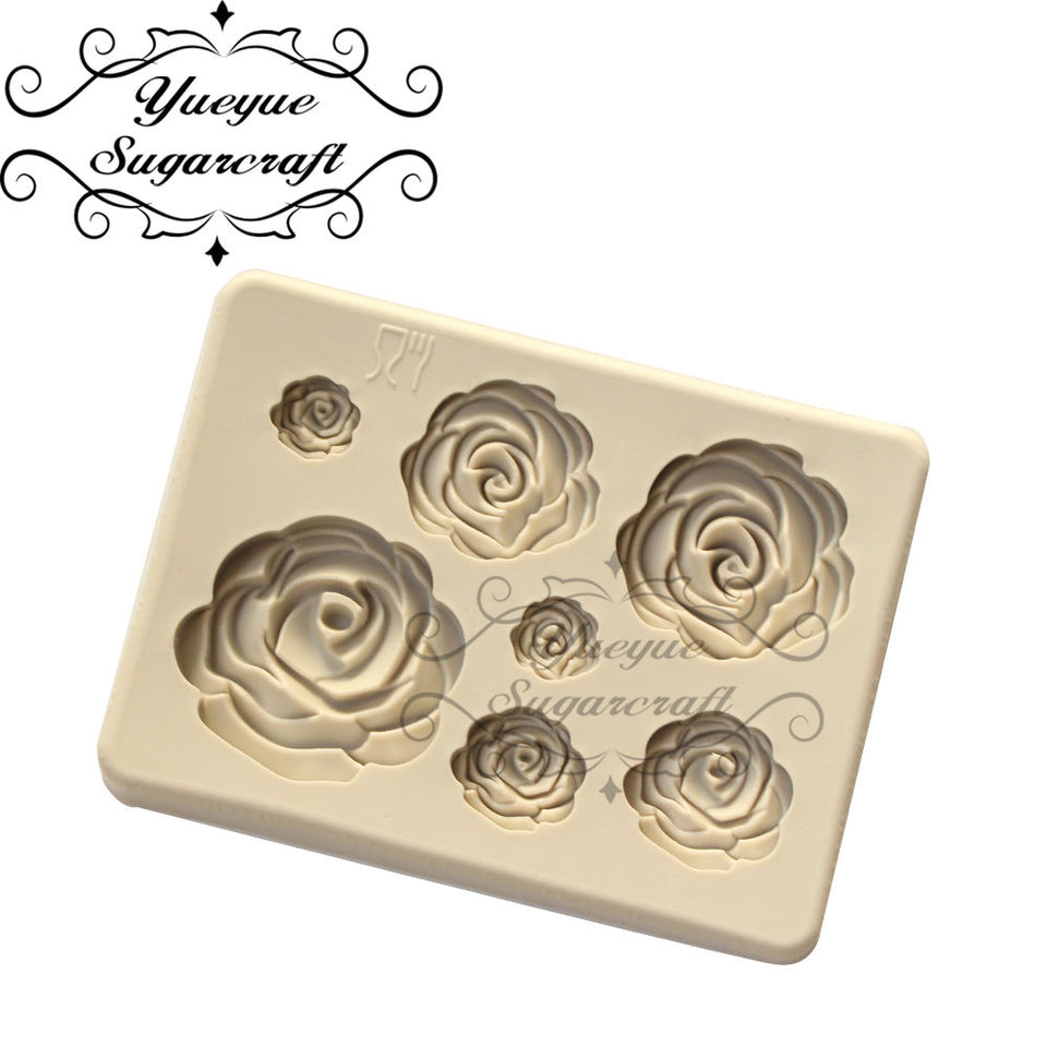 Yueyue Sugarcraft Rose Flower silicone mold fondant mold cake decorating tools chocolate confeitaria mold baking accessories