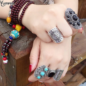 Yumfeel Vintage Boho Ring Sets Antique Silver Color Synthetic Stone Vintage Ring Set 5pcs/Set