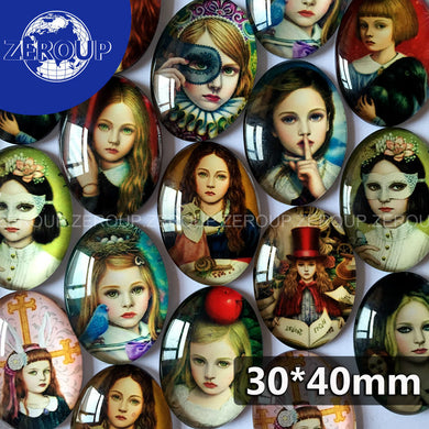 ZEROUP 30*40mm oval glass cabochon girls pictures mixed pattern fit cameo base setting for jewelry flatback 10pcs/lot TP-025