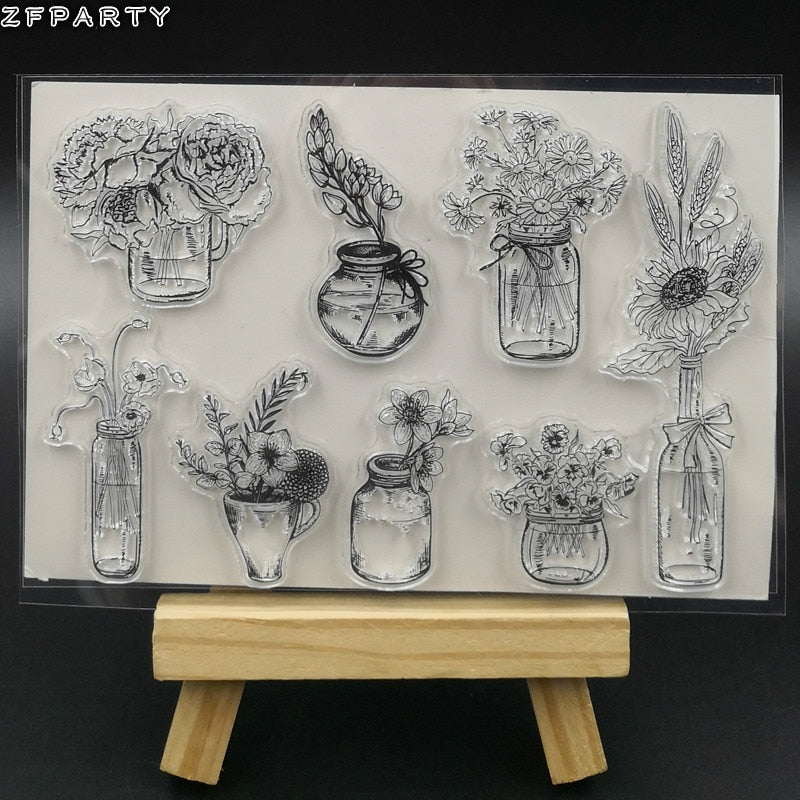 ZFPARTY Flower Vase Transparent Clear Silicone Stamp/Seal for DIY scrapbooking/photo album Decorative Card Making
