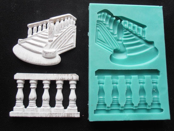guardrails Stairs silicone fandont mold steps Silica gel moulds  Stairs Chocolate molds candy mould  guardrails silicone molds