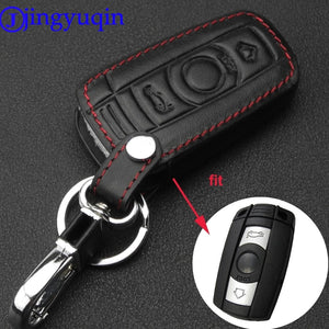 jingyuqin Leather 3B Car key Cover Cases For BMW 3 5 6 Series M3 M5 X1 X5 X6 Z4 Smart Remote Controller Key Holder with KeyChai