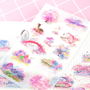 pink sakura Mount Fuji Stickers Set Decorative Stationery Stickers Romantic petals Scrapbooking DIY Diary Album Stick Label