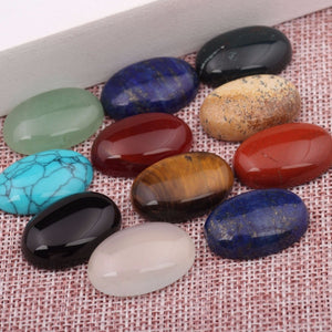 reidgaller 10pcs mixed color flatback oval natural stone cabochons 18x25mm diy jewelry findings for pendant necklace making