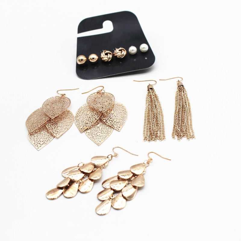 wing yuk tak 6 Pairs/Sets Vintage Gold Color Leaves Long Tassel Simulated Pearl Stud Earrings Set For Women Brincos Jewelry