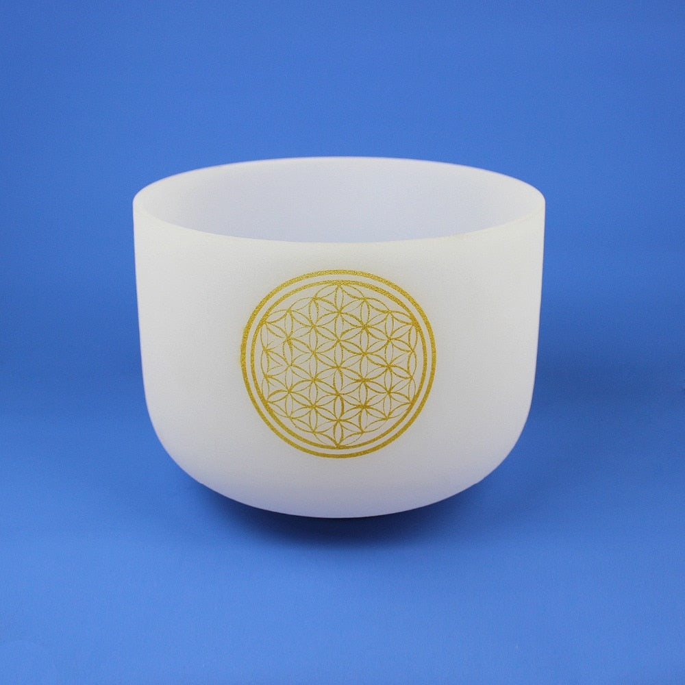 8 inch Note G Quartz 440 Hz Chakra Flower of Life  Frosted Crystal Singing Bowl + Rubber Sticker