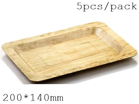 Disposable Eco-Friendly Bamboo  Tableware (200 X 140 MM, 5 PC/Pack)