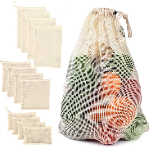 Reusable Cotton Mesh Vegetable Storage Bag  with Drawstring