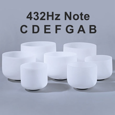 "6-12"" Set of 7pcs Note CDEFGAB Frosted Quartz 432 Hz White Chakra Crystal Singing Bowls"