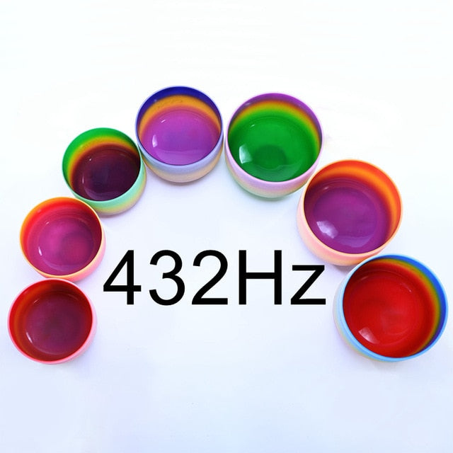 "6-12"" Set of 7pcs Note CDEFGAB Frosted Quartz 443 Hz Rainbow color Chakra Crystal Singing Bowls"