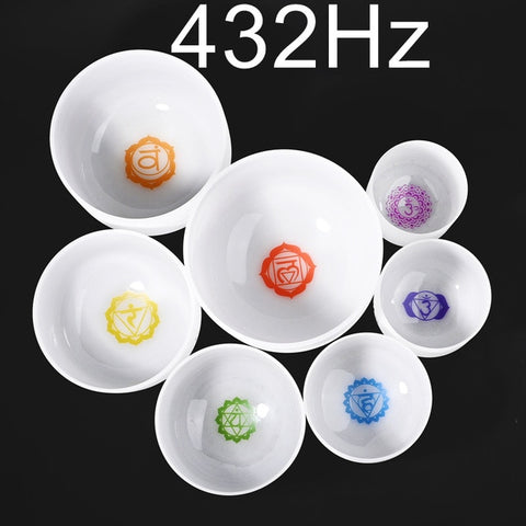 "6-12"" Set of 7pcs Note CDEFGAB Frosted Quartz 432 Hz Chakra Crystal Singing Bowls"