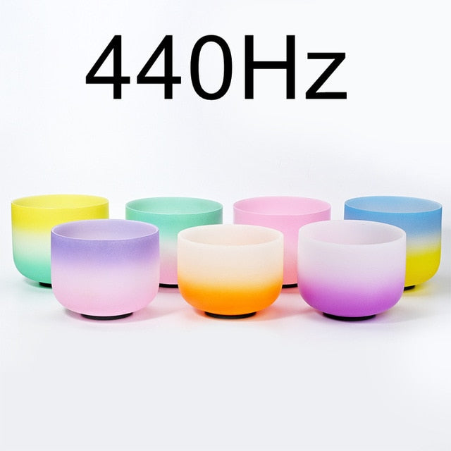 "6-12"" Set of 7pcs Note CDEFGAB Frosted Quartz 440 Hz Ambre Color Chakra Crystal Singing Bowls"