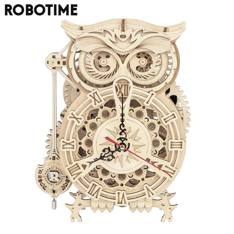 DIY 3D Owl Clock Wooden Model Building Block,161 PCS