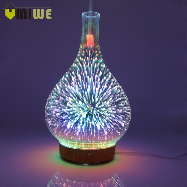 3D Fireworks Essential Oil Aromatherapy  Diffuser night lamp