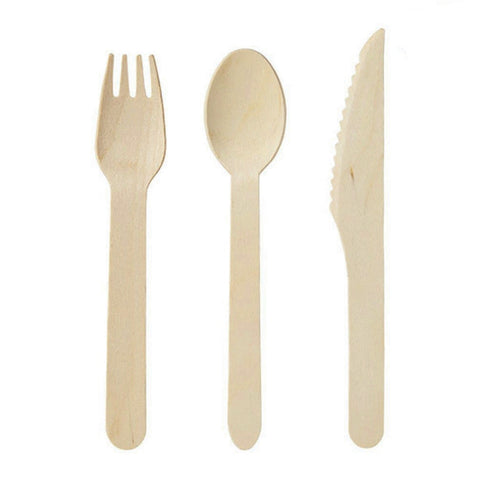 Wooden cutlery 150 pack -forks(50), knives(50) and spoons(50)