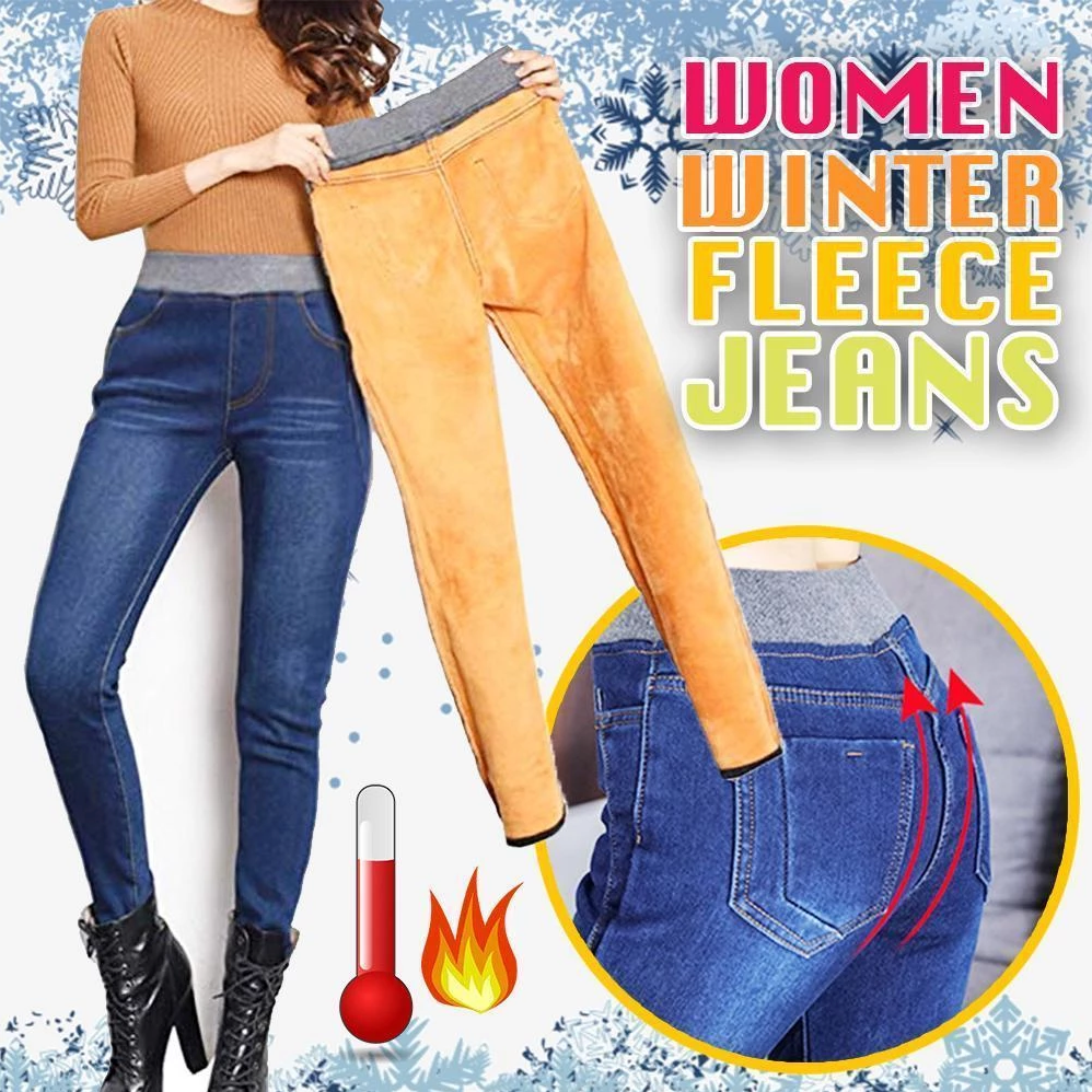 Women Winter Cashmere Jeans