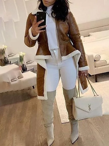 Faux Leather Shearling Coat
