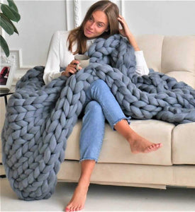 Chunky Knit Blanket Big Knit Blanket Giant Knit Blanket Soft Yarn Blanket