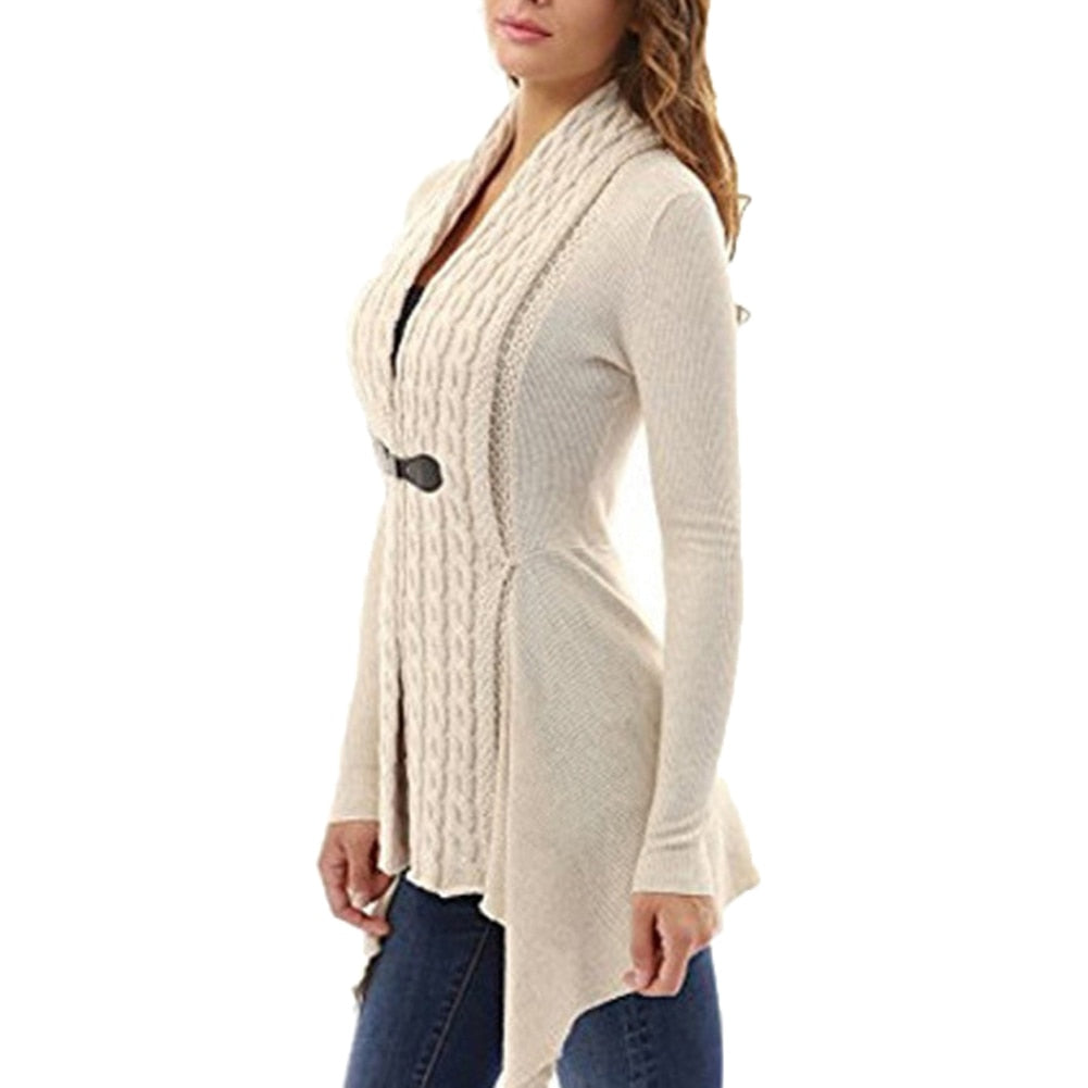 Cable Knit Irregular Hem Cardigan