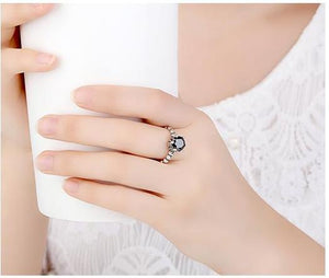 100% Sterling Silver Ring with Black Cubic Zirconia