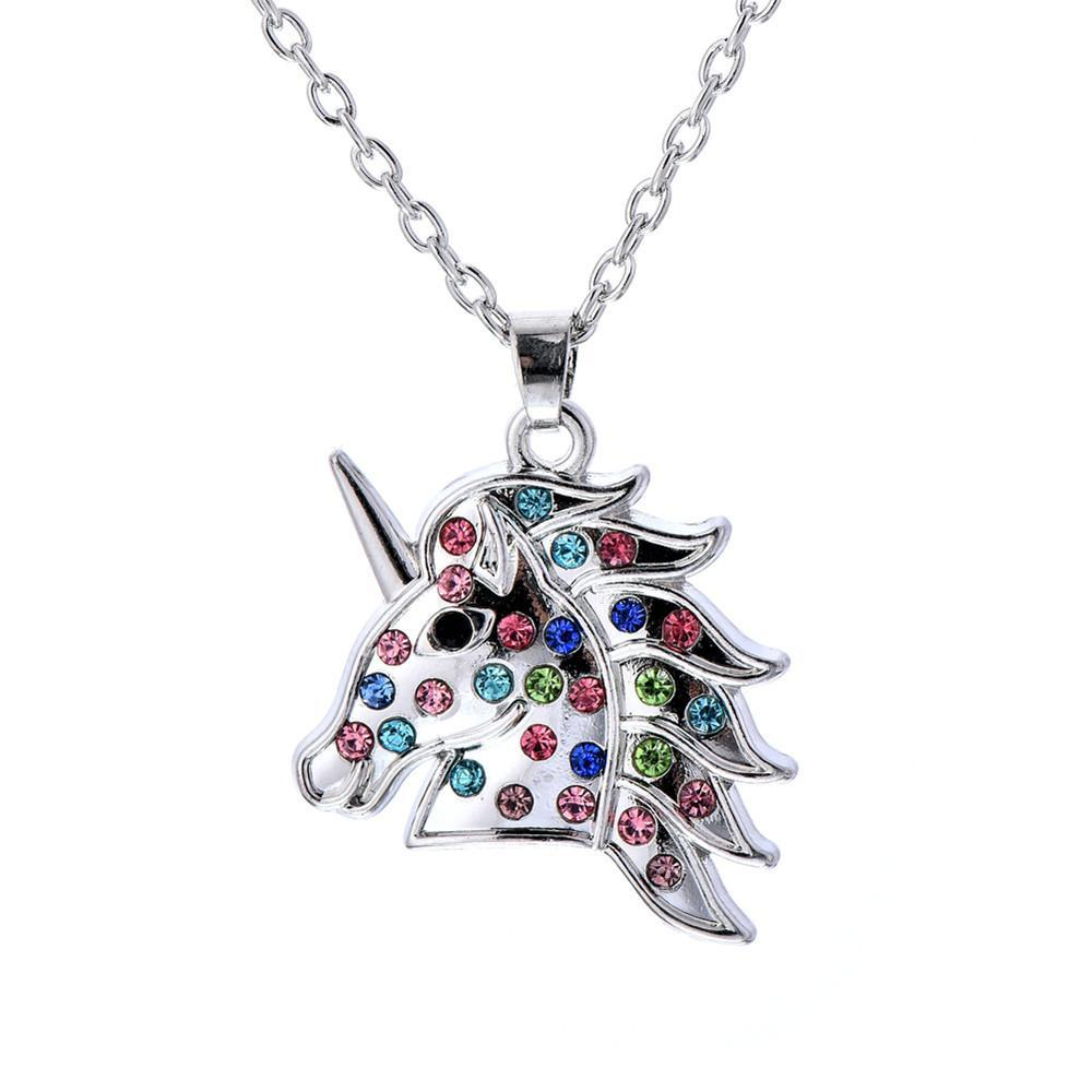 Colorful Silver Plated Unicorn Pendant Necklace