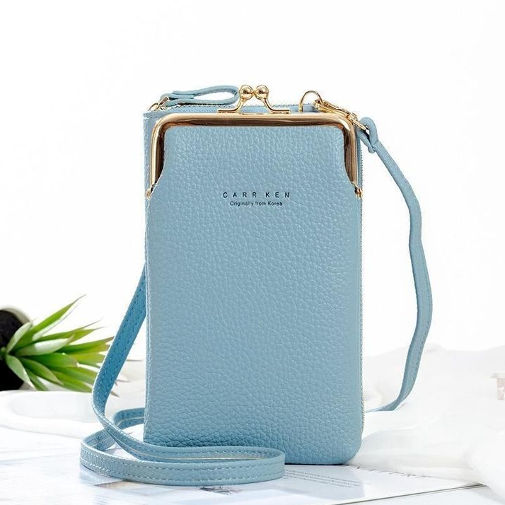 Women Leather Phone Bag Solid Crossbody Bag
