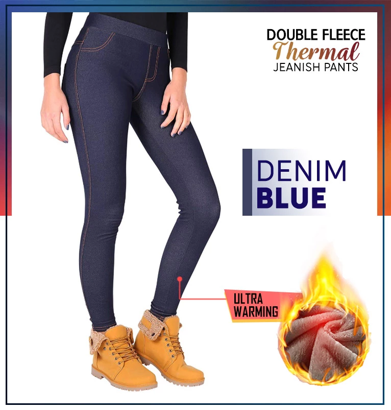 Double Fleece Thermal Jeanish Pants