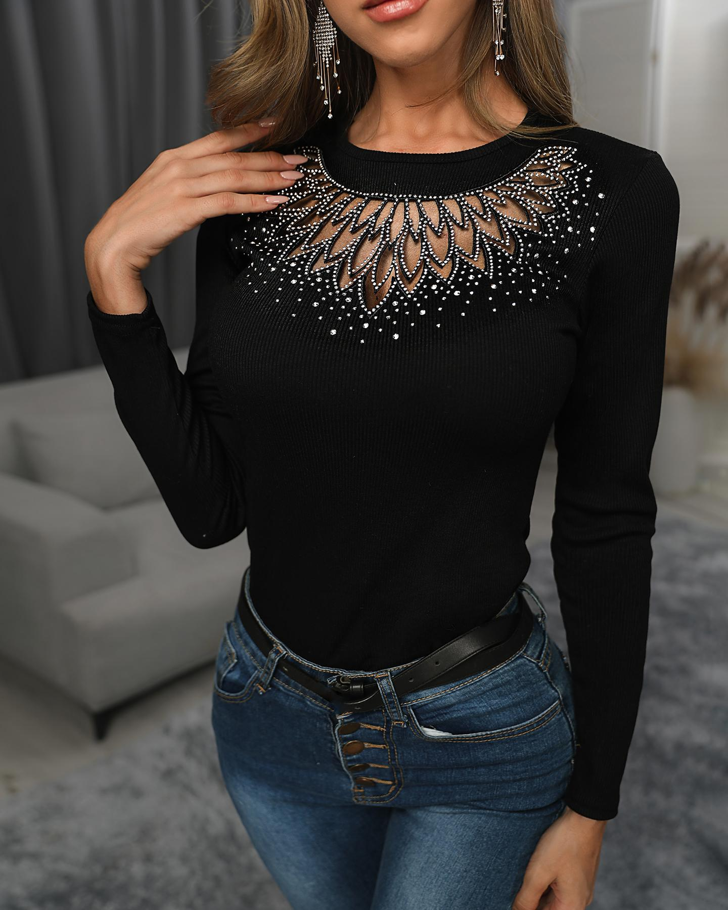 Cowl Neck Polka Sleeve Top