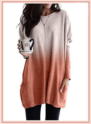 Loose-Fit Round Neck Ombre Tee