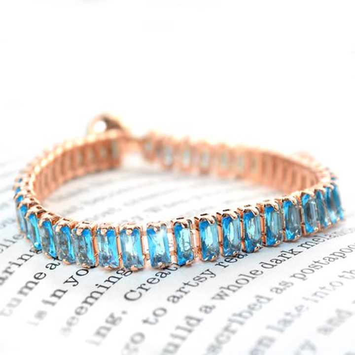 Blue Aquamarine Gemstone Rose Gold
