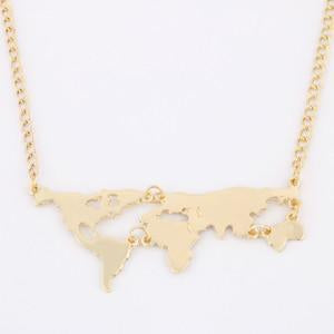 Gold Plated World Map Pendant Necklace For Women