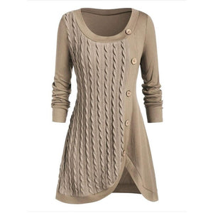 Round Neck Button Embellished Wrap Sweater Top