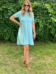 Color Pop T-Shirt Dress in Blue