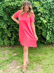 Color Pop T-Shirt Dress in  Pink