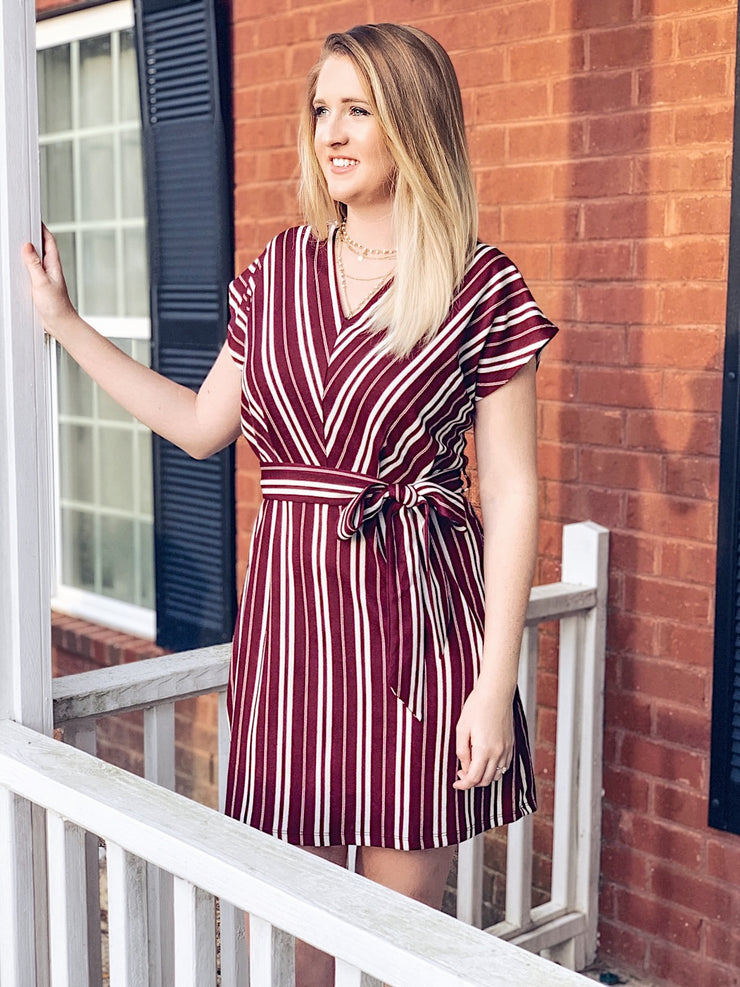 Off the Grape Vine Dress in Wine - The Ivy Exchange