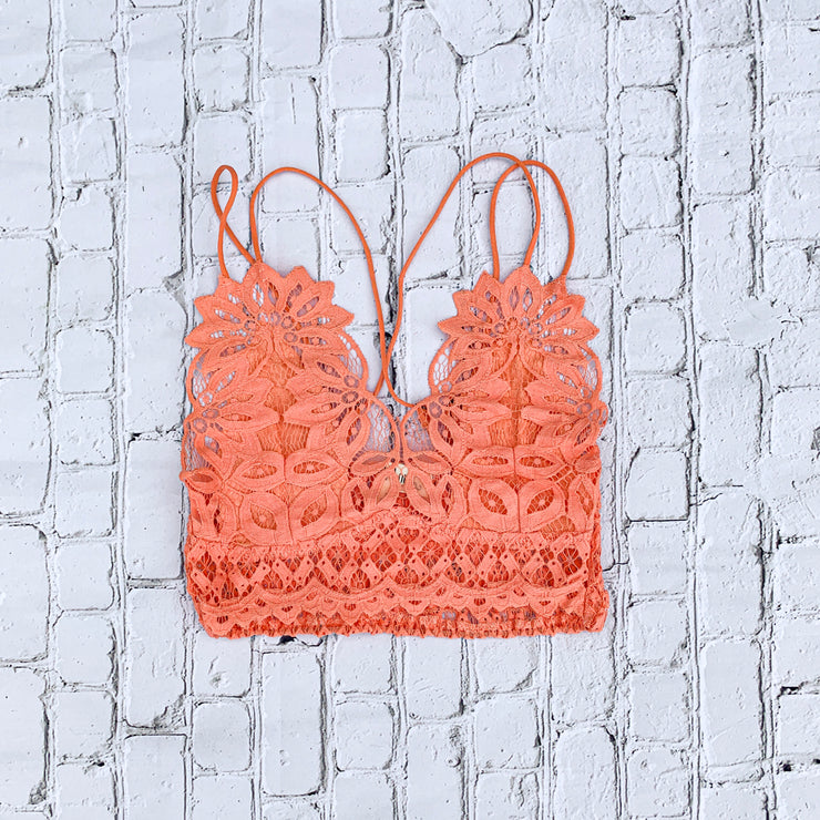 Lace is More Bralette in Coral Pink - The Ivy Exchange