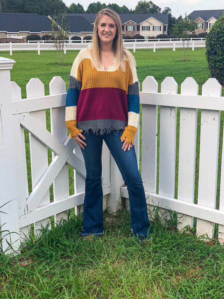 Around the Block Color Block Sweater - The Ivy Exchange