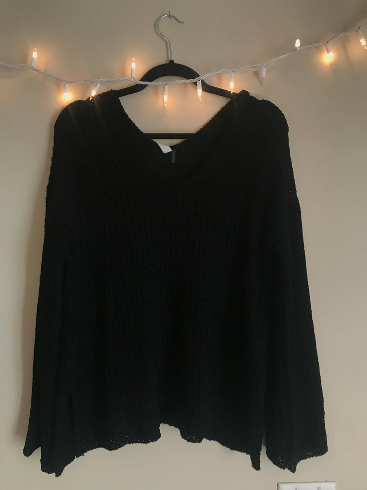 Casual Day Black Sweater - The Ivy Exchange