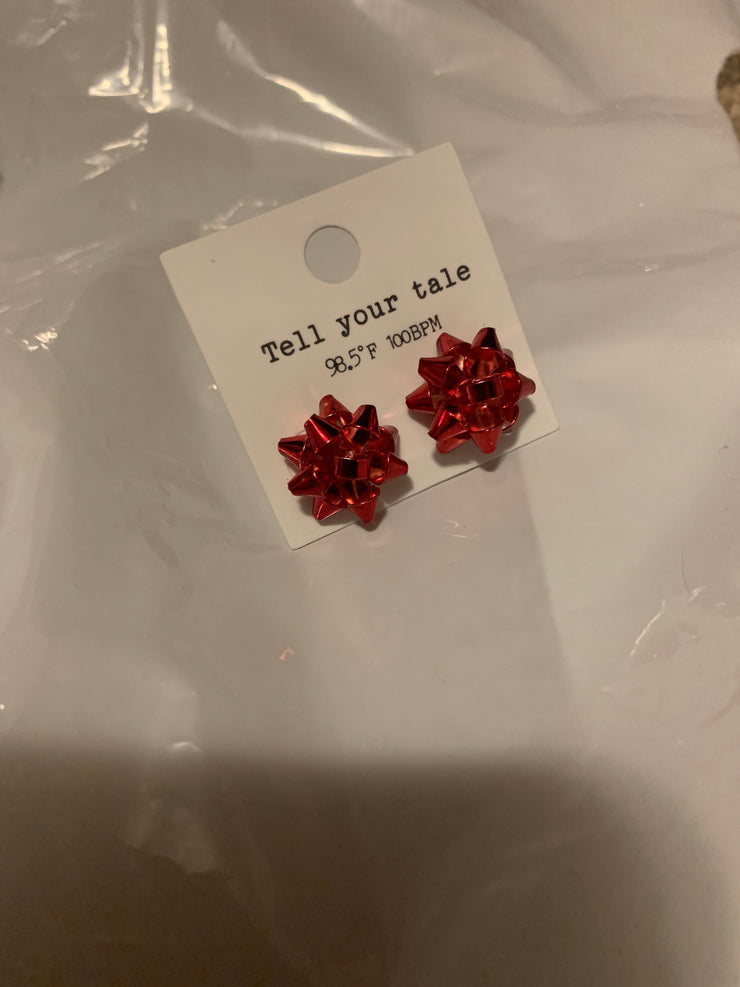 Christmas Bow Earrings in Red