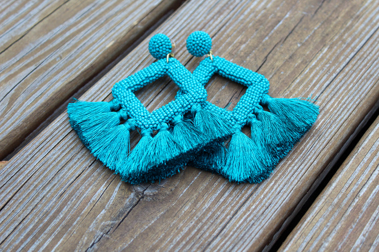 Ellie Fringe Earrings in Blue - The Ivy Exchange